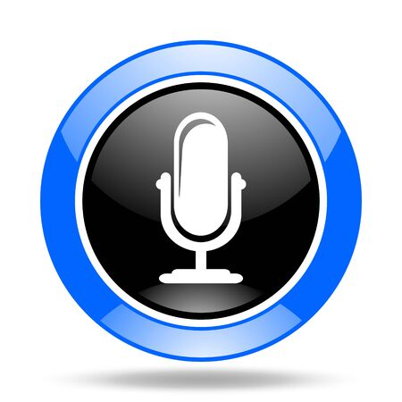 microphone round glossy blue and black web icon Stock Photo