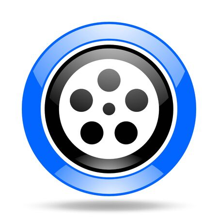 film round glossy blue and black web icon