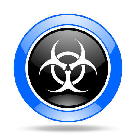 biohazard round glossy blue and black web icon