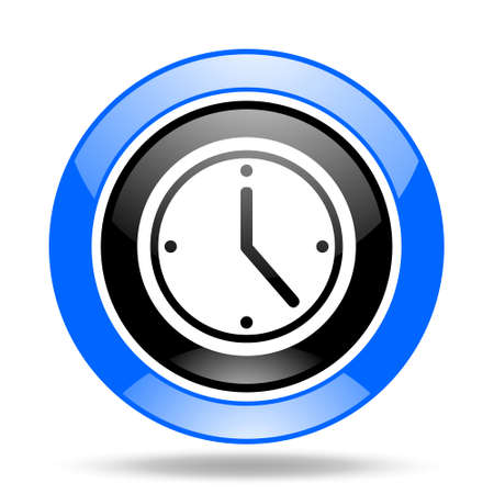 cronometro: tiempo ronda brillante azul y negro icono web