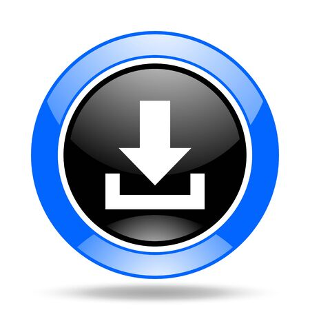 moving down: download round glossy blue and black web icon