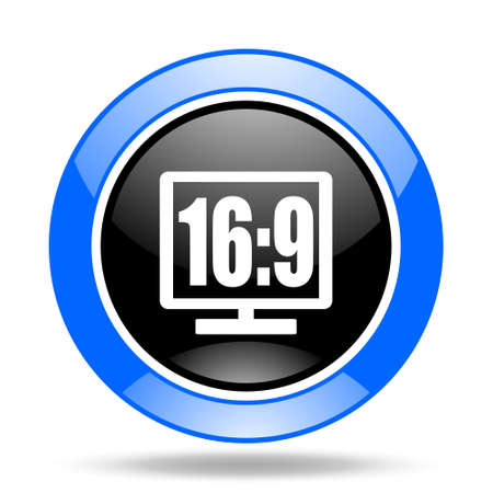 16 9: 16 9 display round glossy blue and black web icon Stock Photo