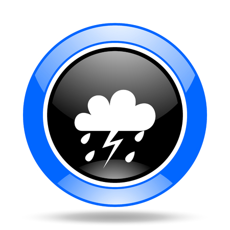 storm round glossy blue and black web icon