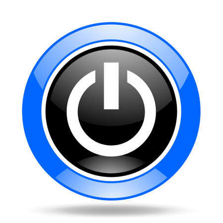 running off: power round glossy blue and black web icon