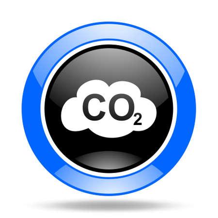 dioxido de carbono: el dióxido de carbono ronda brillante azul y negro del icono del Web Foto de archivo