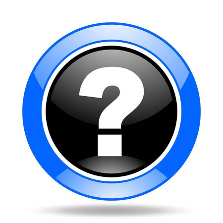 question mark round glossy blue and black web icon