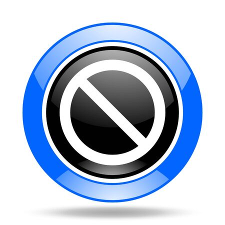 denied: access denied round glossy blue and black web icon Stock Photo