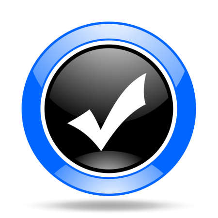 to accept: accept round glossy blue and black web icon Stock Photo