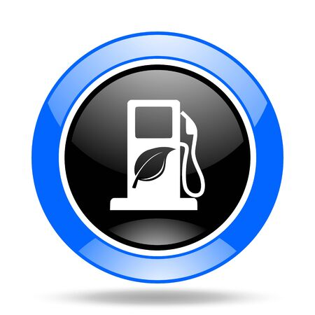 biofuel: biofuel round glossy blue and black web icon
