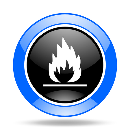 flame round glossy blue and black web icon Stock Photo