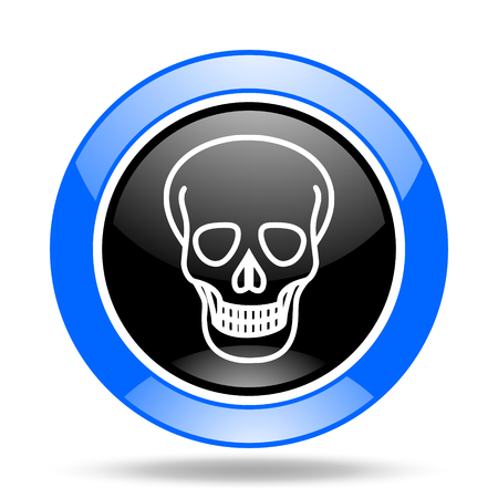 pirating: skull round glossy blue and black web icon