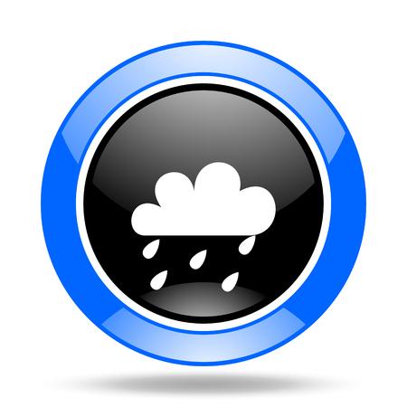 rain round glossy blue and black web icon