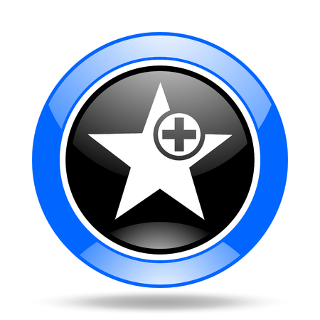 preference: star round glossy blue and black web icon