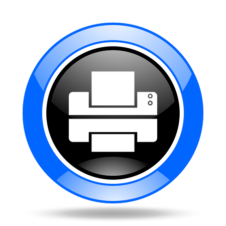 printer round glossy blue and black web icon