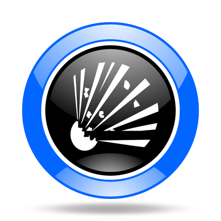 explosion hazard: bomb round glossy blue and black web icon Stock Photo