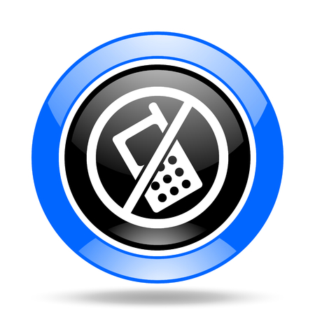 no cell phone sign: no phone round glossy blue and black web icon