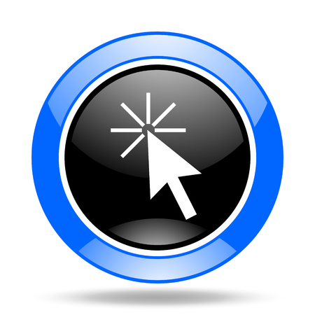 click here round glossy blue and black web icon