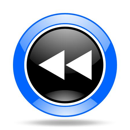 background next: rewind round glossy blue and black web icon Stock Photo