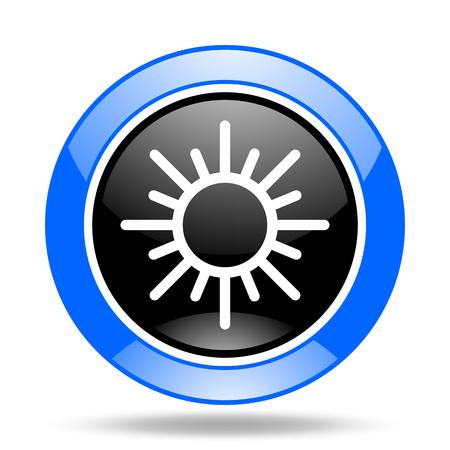 sun round glossy blue and black web icon Stock Photo
