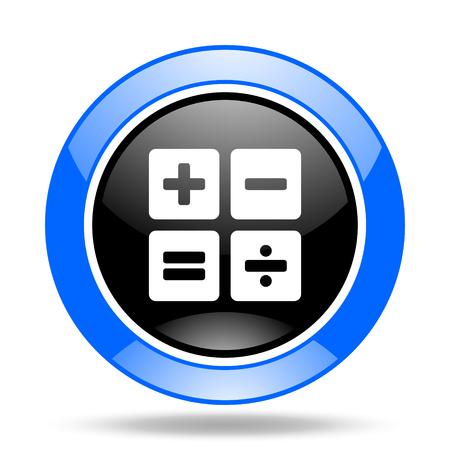 calculator round glossy blue and black web icon