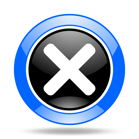 disagree: cancel round glossy blue and black web icon