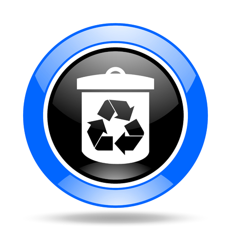 recycle round glossy blue and black web icon