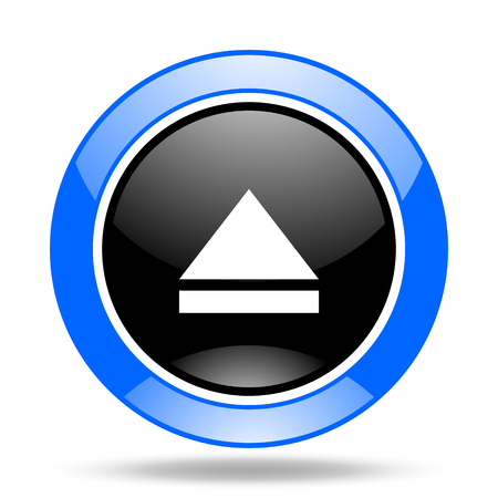 eject icon: eject round glossy blue and black web icon Stock Photo