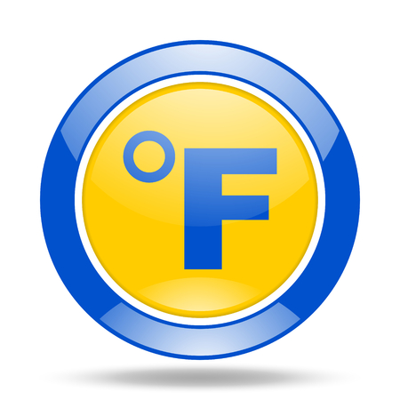 fahrenheit: fahrenheit round glossy blue and yellow web icon Stock Photo
