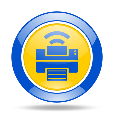 peripheral: printer round glossy blue and yellow web icon Stock Photo