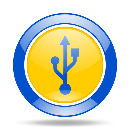 usb round glossy blue and yellow web icon Stock Photo
