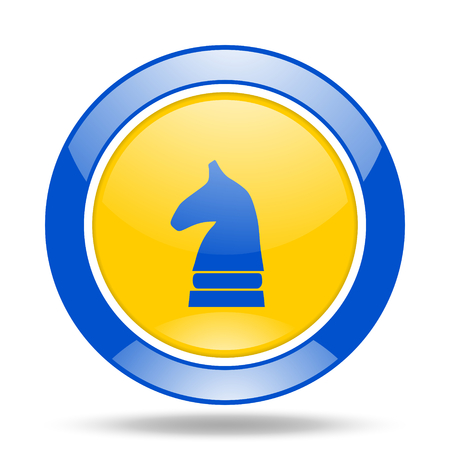 chess horse: chess horse round glossy blue and yellow web icon