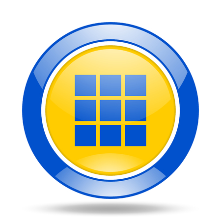 thumbnails: thumbnails grid round glossy blue and yellow web icon
