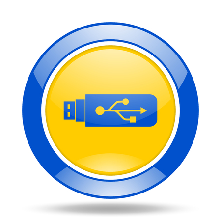 usb pendrive: usb round glossy blue and yellow web icon Stock Photo