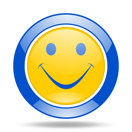 yea: smile round glossy blue and yellow web icon