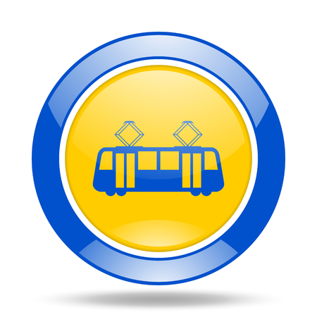 streetcar: tram round glossy blue and yellow web icon