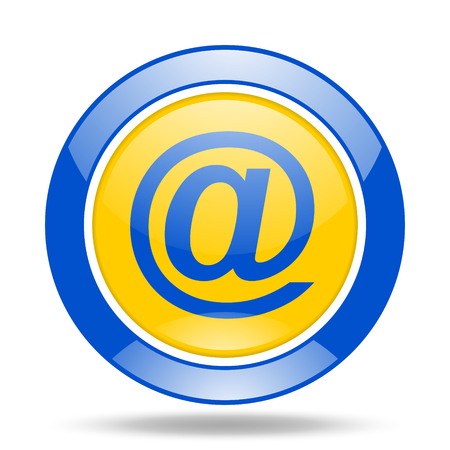 email round glossy blue and yellow web icon Stock Photo
