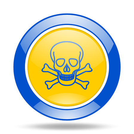 pirating: skull round glossy blue and yellow web icon