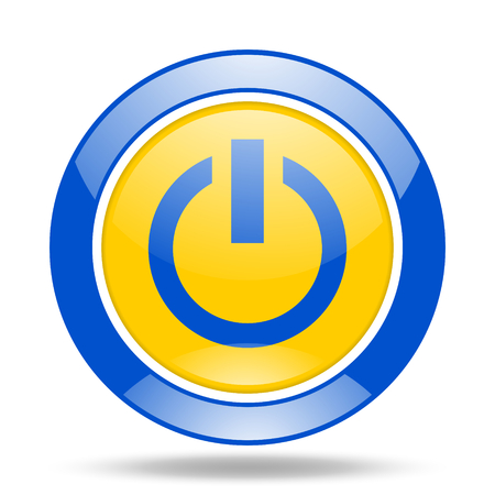 proceed: power round glossy blue and yellow web icon Stock Photo