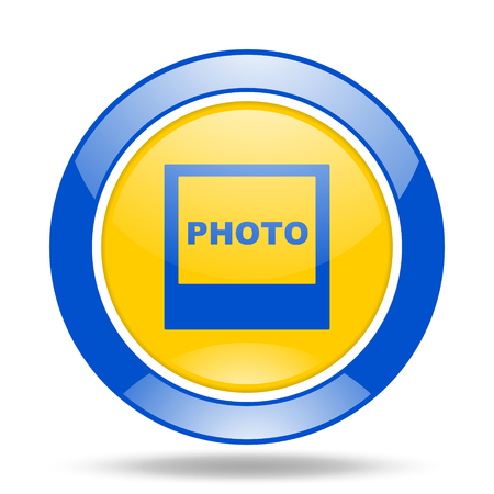 yellow photo: photo round glossy blue and yellow web icon Stock Photo