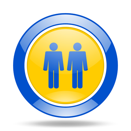 gay men: couple round glossy blue and yellow web icon Stock Photo