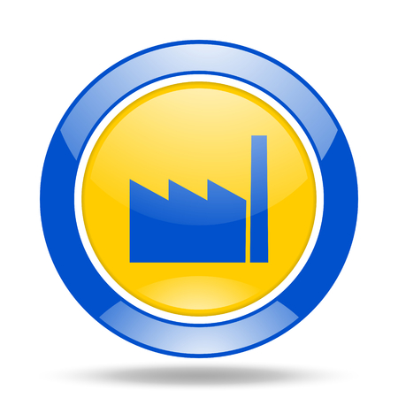 industrial complex: factory round glossy blue and yellow web icon
