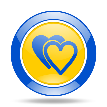 cardiologist: love round glossy blue and yellow web icon
