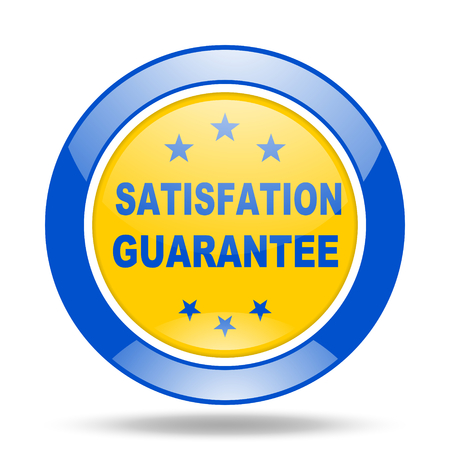 satisfaction guarantee: satisfaction guarantee round glossy blue and yellow web icon