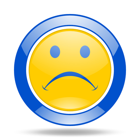 cry round glossy blue and yellow web icon