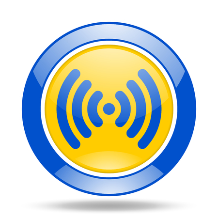 wifi round glossy blue and yellow web icon Stock Photo