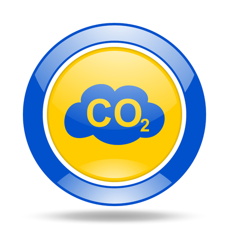 dioxide: carbon dioxide round glossy blue and yellow web icon