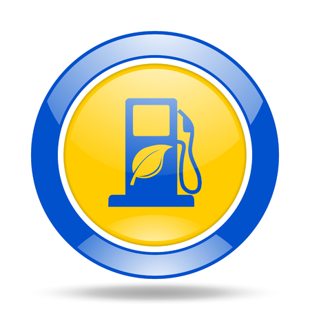biofuel: biofuel round glossy blue and yellow web icon
