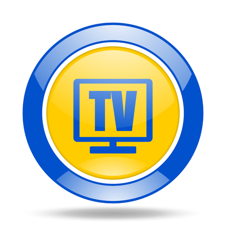 tv round glossy blue and yellow web icon