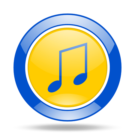 music round glossy blue and yellow web icon