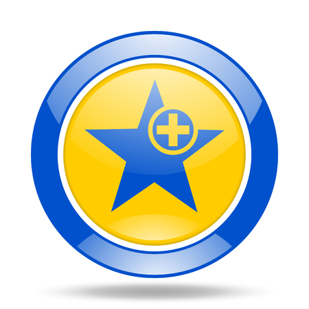 preference: star round glossy blue and yellow web icon Stock Photo